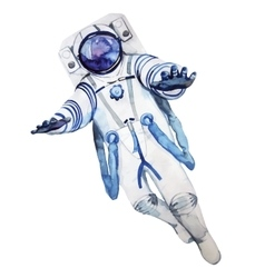 Watercolor astronaut in a spacesuit vector