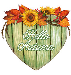 watercolor wooden heart shaped sign with fall vector image