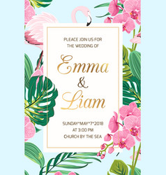 wedding invitation tropical leaves orchid flamingo vector image