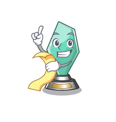 With menu acrylic trophy mascot on a cartoon vector