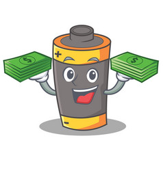 With money battery mascot cartoon style vector