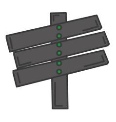 Wooden way label icon vector