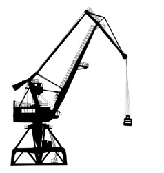 Working crane in sea port for cargo industry vector