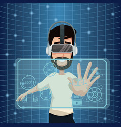 Young man virtual reality wearing goggle smart vector