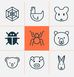 Zoo icons set collection of piglet marsupial vector