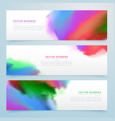 abstract watercolor banners set background vector image vector image