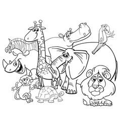 cartoon safari animals coloring page vector image vector image