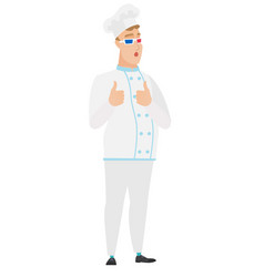 caucasian chef cook watching movie in 3d glasses vector image vector image