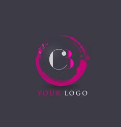 cb letter logo circular purple splash brush vector image vector image
