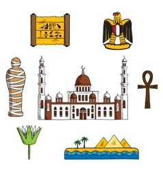 Icons and symbols of ancient Egypt vector image
