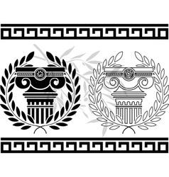 ionic columns with wreaths stencil vector image vector image