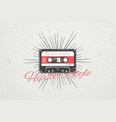 logo music store hipster style detailed elements vector image