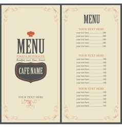 Menu for a cafe or restaurant with a toque vector image