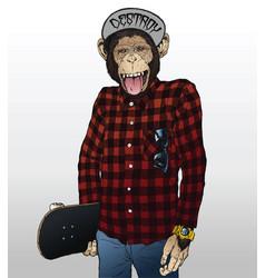 monkey skater hipster vector image