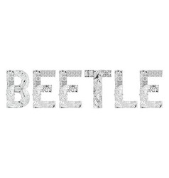 Word beetle for coloring decorative vector