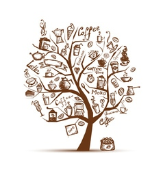 Cofee time Art tree for your design vector image vector image