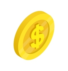 Gold coin with dollar sign icon vector image