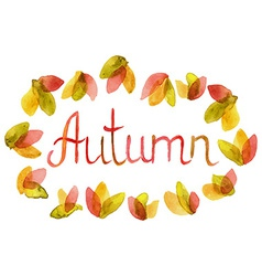 Hand drawn Word Autumn in watercolor leaves frame vector image