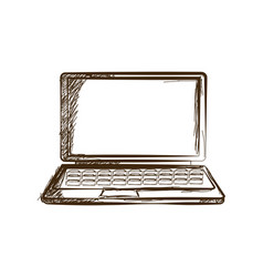 Laptop hand drawn sketch doodle gadget engraved vector