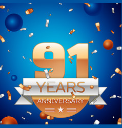 ninety one years anniversary celebration design vector image