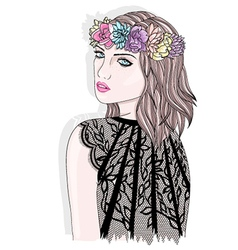 Young girl with flower crown vector image vector image