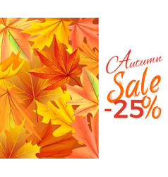autumn sale -25 off icon yellow foliage vector image vector image