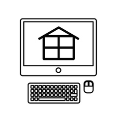 computer with construction software vector image