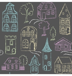 Seamless pattern with doodle houses vector image