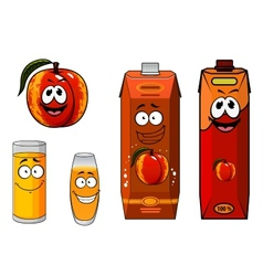 Apricot fruit and juice characters vector image