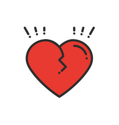 broken heart line icon sign and symbol love end vector image vector image