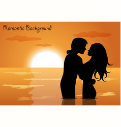 couple in love at sunset vector image