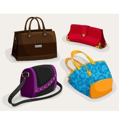 Fashion womans bags collection vector image