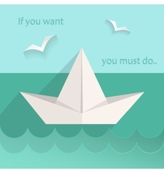Flat paper ship sea seagull vector image