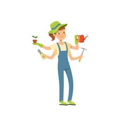 multitasking gardener character girl with many vector image