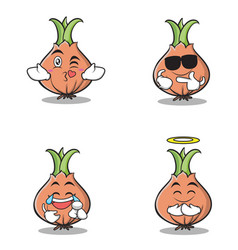 set onion character cartoon collection vector image vector image