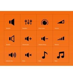 Speaker icons on orange background vector image