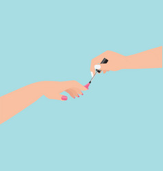 women s hands doing a manicure applying pink nail vector image