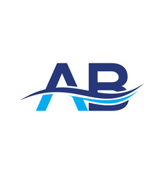 Ab logo for your business a b logo with wave vector