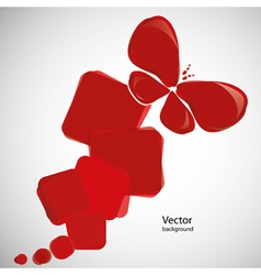 Abstract red background with butterfly vector