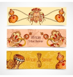 Africa sketch colored banners horizontal vector image