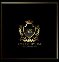 Ak initial letter luxury logo template in art vector