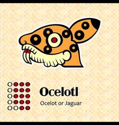 Aztec symbol Ocelotl vector