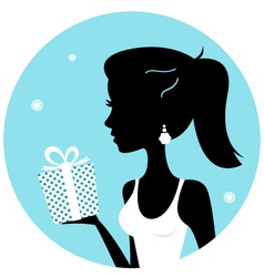 Beautiful woman silhouette with gift vector