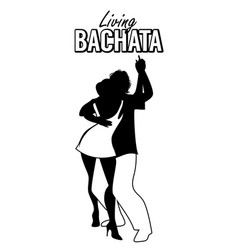 Black silhouette a couple dancing bachata vector