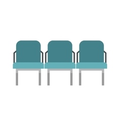Blue airport seats icon flat style vector image