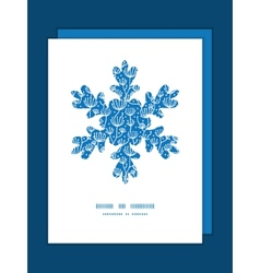 Blue white lineart plants Christmas snowflake vector