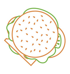 Burger fast food delicious top view vector