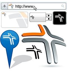 Business 3D cross logo design vector