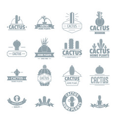 Cactus logo icons set simple style vector