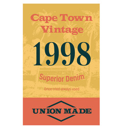 cape town vintage clothing tag vector image